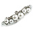 Small Faux White Glass Pearl Bead Clear Crystal Barrette Hair Clip Grip in Silver Tone - 60mm W - view 8