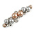 Small Faux Grey/ Taupe Glass Pearl Bead Clear Crystal Barrette Hair Clip Grip In Silver Tone  - 60mm W - view 8