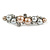 Small Faux Grey/ Taupe Glass Pearl Bead Clear Crystal Barrette Hair Clip Grip In Silver Tone  - 60mm W - view 4