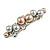 Small Faux Grey/ Taupe Glass Pearl Bead Clear Crystal Barrette Hair Clip Grip In Silver Tone  - 60mm W - view 6
