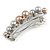 Small Faux Grey/ Taupe Glass Pearl Bead Clear Crystal Barrette Hair Clip Grip In Silver Tone  - 60mm W - view 7