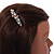 Small Faux Grey/ Taupe Glass Pearl Bead Clear Crystal Barrette Hair Clip Grip In Silver Tone  - 60mm W - view 3