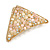 Small AB Crystal Pastel Pink/ Caramel Floral Hair Claw/ Clamp In Gold Tone - 65mm Across