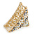 Small AB Crystal Grey/ Milky White Floral Hair Claw/ Clamp In Gold Tone - 65mm Across - view 5
