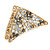 Small AB Crystal Grey/ Milky White Floral Hair Claw/ Clamp In Gold Tone - 65mm Across