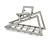 Matte Silver Tone Geometric Triangular Hair Claw/ Clamp - 75mm Across - view 3