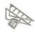 Matte Silver Tone Geometric Triangular Hair Claw/ Clamp - 75mm Across - view 4