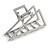 Matte Silver Tone Geometric Triangular Hair Claw/ Clamp - 75mm Across - view 6