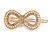 Gold Tone Clear Crystal Cream Faux Pearl Bow Hair Slide/ Grip - 60mm Across - view 7