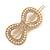 Gold Tone Clear Crystal Cream Faux Pearl Bow Hair Slide/ Grip - 60mm Across