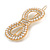 Gold Tone Clear Crystal Cream Faux Pearl Bow Hair Slide/ Grip - 60mm Across - view 5