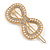 Gold Tone Clear Crystal Cream Faux Pearl Bow Hair Slide/ Grip - 60mm Across - view 8