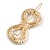 Gold Tone Clear Crystal Cream Faux Pearl Bow Hair Slide/ Grip - 60mm Across - view 6
