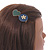 Romantic Gold Tone PU Leather Heart and Flower Hair Beak Clip/ Concord Clip (Dark Blue/ Green) - 60mm L - view 3