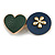 Romantic Gold Tone PU Leather Heart and Flower Hair Beak Clip/ Concord Clip (Dark Blue/ Green) - 60mm L - view 5