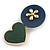 Romantic Gold Tone PU Leather Heart and Flower Hair Beak Clip/ Concord Clip (Dark Blue/ Green) - 60mm L - view 6
