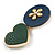 Romantic Gold Tone PU Leather Heart and Flower Hair Beak Clip/ Concord Clip (Dark Blue/ Green) - 60mm L - view 7