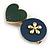Romantic Gold Tone PU Leather Heart and Flower Hair Beak Clip/ Concord Clip (Dark Blue/ Green) - 60mm L