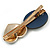 Romantic Gold Tone PU Leather Heart and Flower Hair Beak Clip/ Concord Clip (Dark Blue/ Green) - 60mm L - view 4