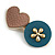 Romantic Gold Tone PU Leather Heart and Flower Hair Beak Clip/ Concord Clip (Dusty Pink/ Teal) - 60mm L