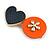 Romantic Gold Tone PU Leather Heart and Flower Hair Beak Clip/ Concord Clip (Dark Blue/ Orange) - 60mm L
