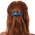Blue/ Black Feather Motif Acrylic Square Barrette/ Hair Clip - 85mm Long - view 2