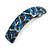 Blue/ Black Feather Motif Acrylic Square Barrette/ Hair Clip - 85mm Long