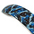 Blue/ Black Feather Motif Acrylic Square Barrette/ Hair Clip - 85mm Long - view 4