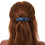 Blue/ Black Feather Motif Acrylic Oval Barrette/ Hair Clip - 95mm Long - view 2