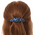 Blue/ Black Feather Motif Acrylic Oval Barrette/ Hair Clip - 95mm Long - view 3