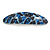 Blue/ Black Feather Motif Acrylic Oval Barrette/ Hair Clip - 95mm Long - view 8