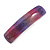 Purple/ Pink Glitter Acrylic Square Barrette/ Hair Clip In Silver Tone - 90mm Long