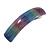 'Rainbow' Glitter Acrylic Square Barrette/ Hair Clip In Silver Tone - 90mm Long