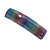 'Rainbow' Glitter Acrylic Square Barrette/ Hair Clip In Silver Tone - 90mm Long - view 8