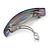'Rainbow' Glitter Acrylic Square Barrette/ Hair Clip In Silver Tone - 90mm Long - view 4