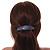 'Rainbow' Glitter Acrylic Oval Barrette/ Hair Clip In Silver Tone - 90mm Long - view 2