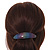 'Rainbow' Glitter Acrylic Oval Barrette/ Hair Clip In Silver Tone - 90mm Long - view 3