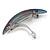 'Rainbow' Glitter Acrylic Oval Barrette/ Hair Clip In Silver Tone - 90mm Long - view 6