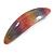 'Rainbow' Glitter Acrylic Oval Barrette/ Hair Clip In Silver Tone - 90mm Long