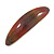 Brown/ Orange/ Yellow Glitter Acrylic Oval Barrette/ Hair Clip In Silver Tone - 90mm Long