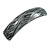 Black/ Metallic Silver Acrylic Square Barrette/ Hair Clip In Silver Tone - 90mm Long
