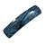 Blue/ Black Acrylic Square Barrette/ Hair Clip In Silver Tone - 90mm Long - view 8