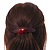 Red/ Black Acrylic Oval Barrette/ Hair Clip In Silver Tone - 90mm Long - view 3