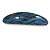 Blue/ Black Acrylic Oval Barrette/ Hair Clip In Silver Tone - 90mm Long - view 9