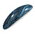 Blue/ Black Acrylic Oval Barrette/ Hair Clip In Silver Tone - 90mm Long