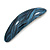 Blue/ Black Acrylic Oval Barrette/ Hair Clip In Silver Tone - 90mm Long - view 10