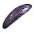 Purple/ Black Acrylic Oval Barrette/ Hair Clip In Silver Tone - 90mm Long