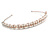 Bridal/ Wedding/ Prom Rose Gold Tone Clear Crystal, Faux White Glass Pearl Tiara Headband - view 6