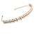 Bridal/ Wedding/ Prom Rose Gold Tone Clear Crystal, Faux White Glass Pearl Tiara Headband - view 2