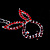 Red Crystal Bunny Charm Key Ring